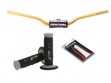 New Renthal 604 Fat bar Handlebars Gold Pro Grips Sil Renthal Grip Glue Combo